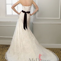 A-line Strapless Sweep Train Lace Wedding Dress with Hand Made Flower at Msdressy