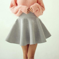 Fashion Vintage Retro Style Women Sexy Elastic High Waist Midi Skater Flared Pleated Short Mini Skirt Fall Winter Skirts