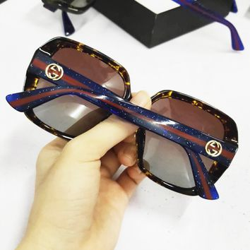 Gucci Fashion New Shades Stripe Sunscreen Eyeglasses Couple Leisure Glasses Sunglasses