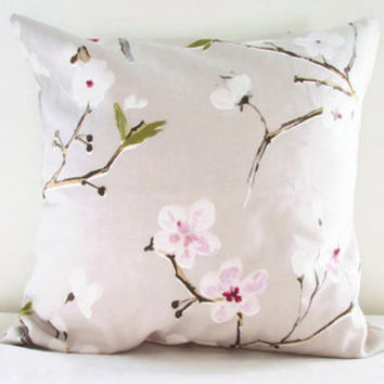 Cherry blossom pillow cover, 16 inch cushion cover in Prestigious Emi fabric beige 100% cotton pink blossom flower print British designer