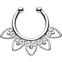 Clear Gem Tribal Hearts Non-Pierced Clip On Septum Ring
