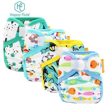5PCS Happyflute Newborn Tiny print PUL design snap or hook&loop cloth diaper cover with colorful binding