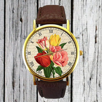 Vintage Tulips Flower Watch | Floral Watch | Botanical | Leather Watch | Women's Watch | Christmas Gift Idea