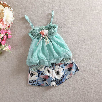 Cute Baby Girls Lace Sleeveless Clothes Set Children Girl Tops Floral Short Pants Outfits Set NW