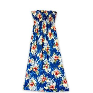 Hibiscus Isles Blue Maxi Hawaiian Dress
