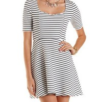 White Combo Striped & Textured Skater Dress by Charlotte Russe