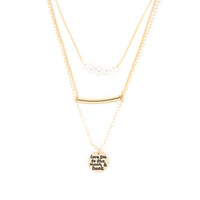Gold Love You to the Moon and Back 3 Row Pendant Necklace