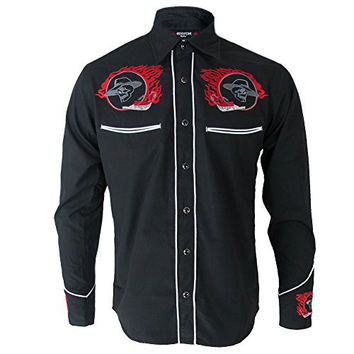 Black Rockabilly Western Red Flame & Skull Embroidered Cowboy Shirt S - 2XL