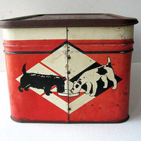 Vintage 1940 VitaPep Dog Food Advertising Picnic Box Style Tin w Lid, Scottie Terrier Dogs, Red Black White