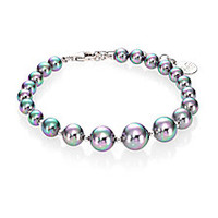 Majorica - 6MM-10MM Grey Round Pearl & Sterling Silver Beaded Strand Bracelet - Saks Fifth Avenue Mobile