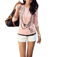 Allegra K Lady Scoop Neck Long Sleeve Necklace Print Autumn Shirt Pink S