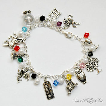 Witch and Wizard Magic Fairy Tale Themed Charm Bracelet, Silver Tone Charm Bracelet, Magic, Geek
