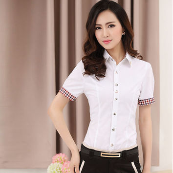 White Short Sleeve Blouse with checkered design