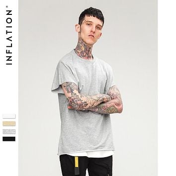 INFLATION Loose Fit T-shirt Men Streetwear 2018 Summer Short Sleeve tee shirt for male cut out sleeve tops t-shirt 8184S