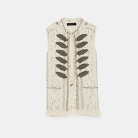 SHINY WAISTCOAT WITH EMBROIDERED BEADS DETAILS