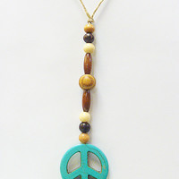 Turquoise Peace Sign Rear View Mirror Dangle Ornament Suncatcher Car Decor Hemp