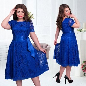Summer Women Dress Plus Size 6XL Lace Elegant Lady Dress Short Sleeve Casual Fashion Vestidos Large Size Party Dress