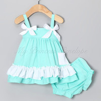 Baby girl ruffle bloomer set, romper, baby Onesuit, great for photos!