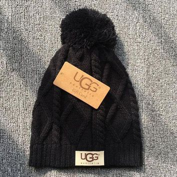 Ugg Autumn Winter New Knit Women Men Warm With Small Ball Cap Hat Black