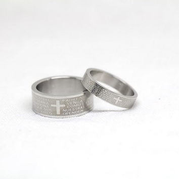 2pcs-Free Engraving,Scripture Ring, promise ring,couple Rings, Lovers rings