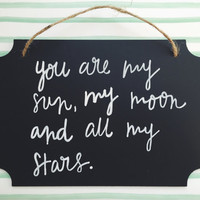 SUN MOON and STARS - painted wood chalkboard sign