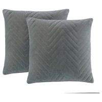 "Cotton Velvet Square Pillow - Charcoal Grey (20""x20"")"