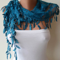 Royal Blue and Lace Shawl / Scarf with Lace Edge by SwedishShop