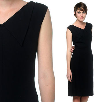 Black Cocktail Dress 60s Mod Collar A Line 1960s Formal by oldage