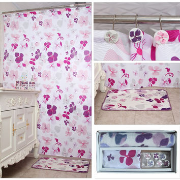 Polyester Clover Bathroom Shower Curtain With Hooks By Hand-Painted and Bathroom Rug