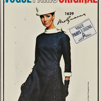 So 60's MOD Vogue Paris Original Pattern 1629 w LaBeL MOLYNEUX 1 Pc Side-Button Coat Dress Cut Complete Sz 16 Haute Couture Sewing Patterns