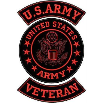 U.S ARMY VETERAN Iron on 3 Large Back Patches Set for Biker Vest Jacket