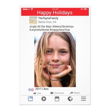 Facebook Photo Holiday Christmas Card Red