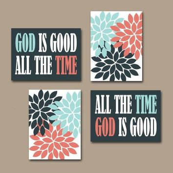 GOD is Good All The Time Wall Art, CANVAS or Prints Religious Quote Home Flower Burst Floral Coral Aqua Navy Art Set of 4 Choose Colors