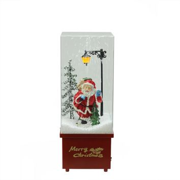 "16.25"" Lighted Musical Santa Claus Snowing Christmas Table Top Snow Dome"