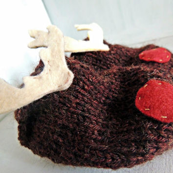 Reindeer Stay On Baby Slipper Shoe Booties  // wool slippers baby booties rudolph red nosed reindeer christmas shoes stay on elastic heel