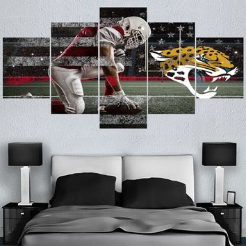5 Pcs Rugby Jacksonville Jaguars Canvas Painting Calligraphy Sport Ball Team Poster Wall Art Paintings Modern Home Decor Picture