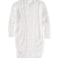 Aeropostale Womens 3/4 Sleeve Crocheted Statement Cardigan - White,