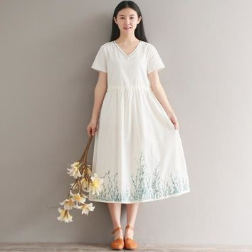 Japanese Mori Girl Dress 2018 Summer New Women Literary Vintage Loose Embroidery V-neck Short Sleeve Maxi Long Cotton Dress