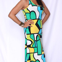PICASSO MOD LOVE SEXY RACERBACK MAXI DRESS BOLD VIVID COLORS BY TOPIA, NWT M & L