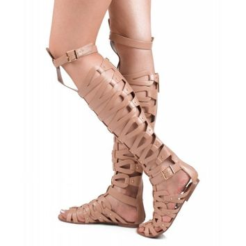 Women Leatherette Strappy Open Toe Gladiator Sandals NATURAL