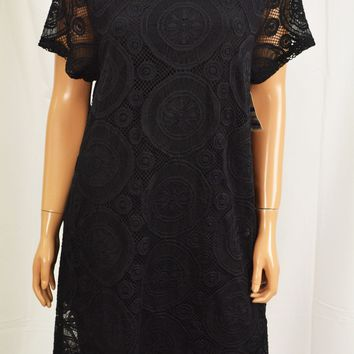 Charter Club Women's Short Sleeve Black Lace Tunic Dress  XL