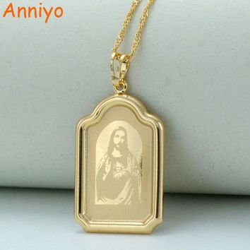 DCCKL6D Anniyo Computer Engraving Jesus Head Pendant Necklaces Gold Color Chain Women Christian Jewelry Crucifix #041804