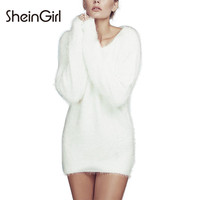 SheinGirI 2016 Office Lady Fashion Women Solid White Knitted Long Sleeve Crew Neck Sweet Casual Slim Pullover Bodycon Sweater