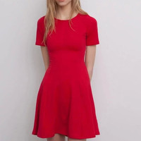 Plain Short-Sleeve  A-Line Dress