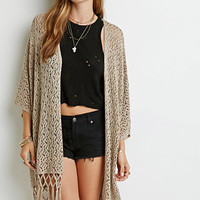 Tasseled Open-Knit Cardigan