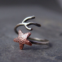 Copper Starfish Coral Branch Adjustable Ring, Starfish Ring, Ocean Jewelry, Gifts under 40.00, Handmade