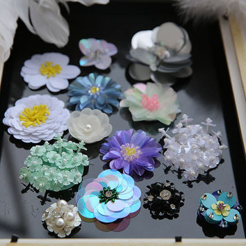 3D Beaded Flower Patches Sew On for Jackets Shoes jeans bags, patches for Jeans clothing DIY