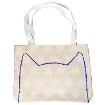 Starry Cat Canvas Market Tote Bag