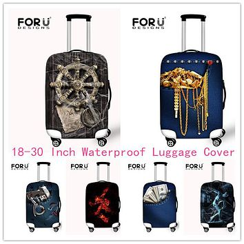 FORUDESIGNS Vintage Elastic Luggage Protective Covers With Zipper For 18-30 Inch Trunk Suitcase Dustproof Covers Stretch Covers
