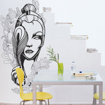 I179 Wall Decal Vinyl Sticker Art Decor Design woman silhouette delicate line drawing sketch beauty flowers pattern